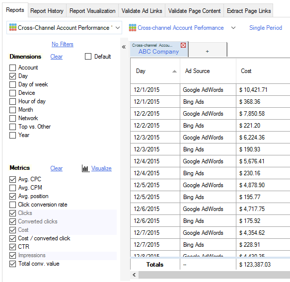 Consolidate AdWords & Bing Ads Reports