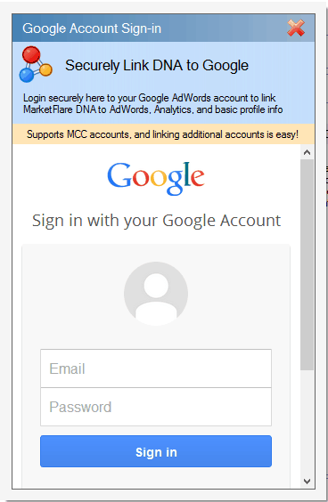 MarketFlare DNA uses Oauth2 to securely link to your Google account